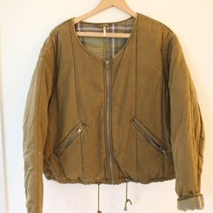 Free People  Military Olive Green Bomber Jacket